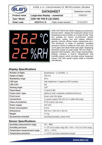 Air temperature and humidity monitor - CDN 100 THS R L20 230AC