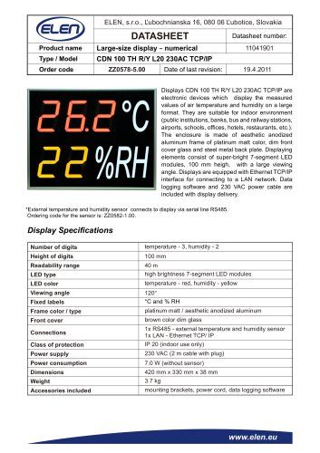 Air temperature and humidity monitor - CDN 100 TH R/Y L20 230AC TCP/IP