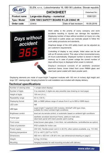 CDN 100/3 SAFETY  BOARD R L20 230AC IR