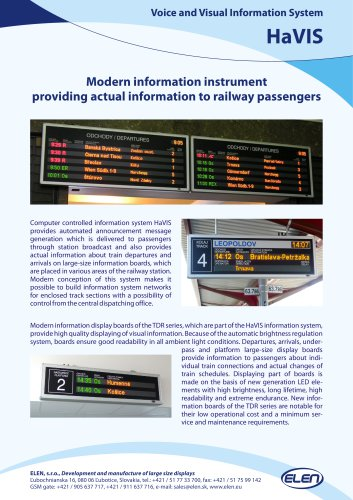 Modern inf orma tion instrumen t pr o viding ac tual inf orma tion t o r ailw a y passengers