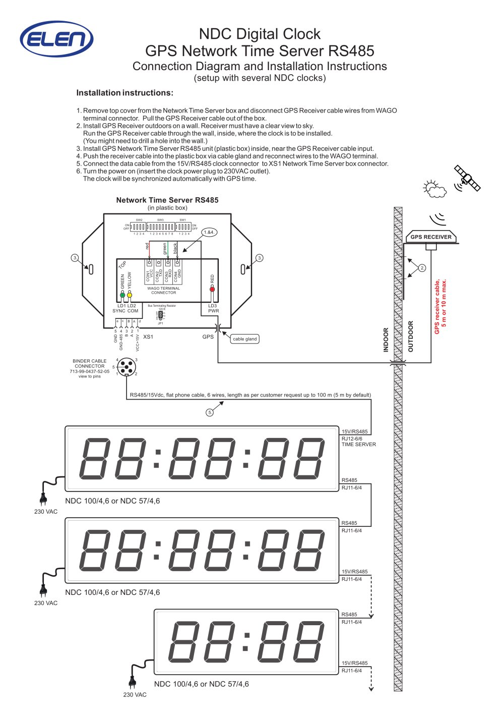 Ndc Digital Clock Gps Network T Ime Server Rs485 Elen Sro 4 Wiring Diagram 1 2 Pages