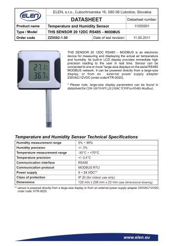 SENSOR 20 12DC RS485  – MODBUS
