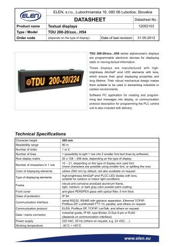 TDU  200-20/xxx...H54