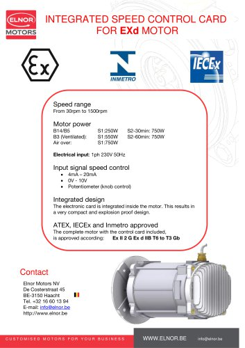 Integrated speed control card for Exd motor