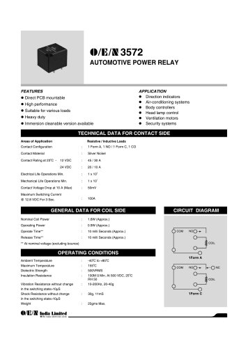 Series 3572 automotive relay