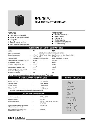Series 76 automotive relay