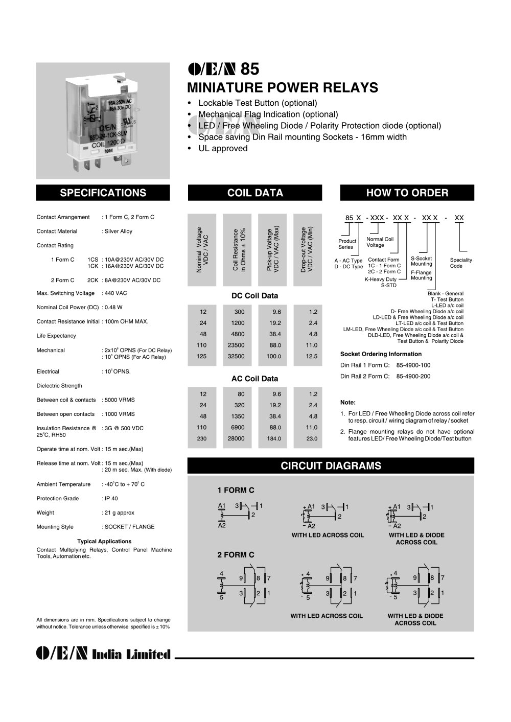 Series 85 Power Relay O E N India Ltd Pdf Catalogue Technical 12v Diode Wiring Diagram 1 2 Pages