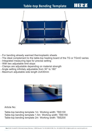 Table-top Bending Template
