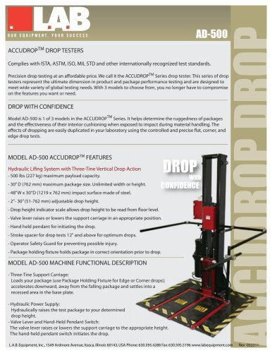 AccuDrop™ 500 - L A B Equipment - PDF Catalogs | Technical