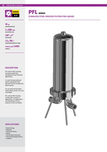 PFL SERIES STAINLESS STEEL PROCESS FILTERS FOR LIQUIDS