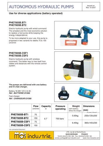 Autonomous hydraulic pumps PHE7005B.BT/CSF