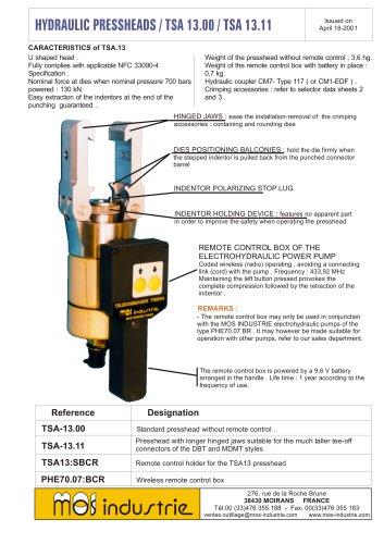 HYDRAULIC PRESSHEADS / TSA 13.00 / TSA 13.11