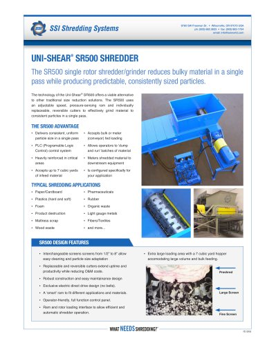 Uni-Shear® SR500 Single Rotor Shredder