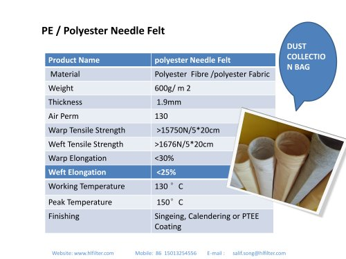 PE/polyester dust collector filter bag