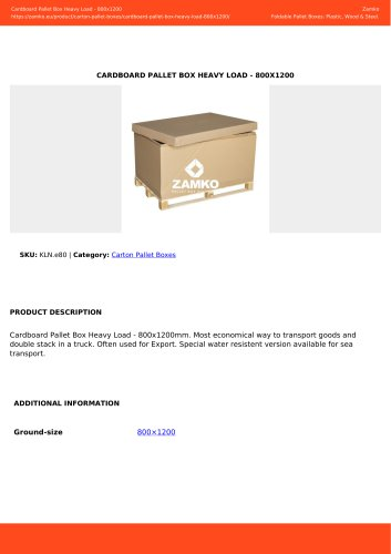 CARDBOARD PALLET BOX HEAVY LOAD - 800X1200