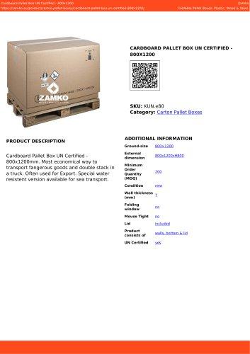 CARDBOARD PALLET BOX UN CERTIFIED - 800X1200
