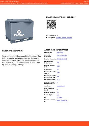 PLASTIC PALLET BOX - 800X1200