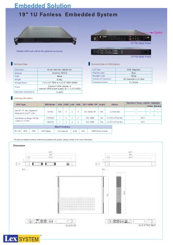 "19"" 1U Fanless Embedded System"