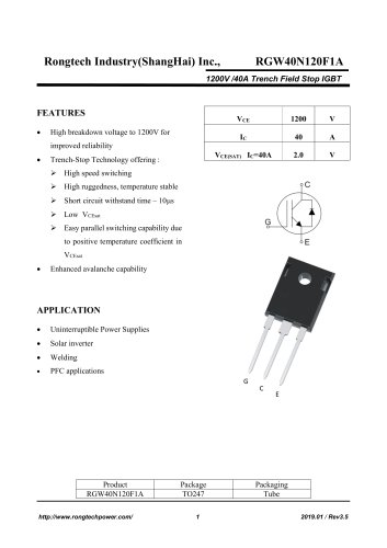 RGW40N120F1A 1200V /40A Trench Field Stop IGBT
