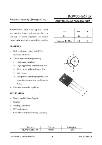 RGW50N65F1A 650V /50A Trench Field Stop IGBT