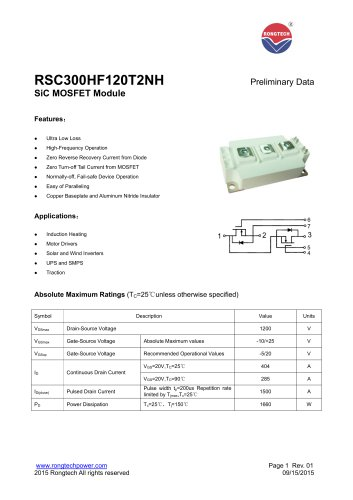 RSC300HF120T2NH Preliminary Data SiC MOSFET Module