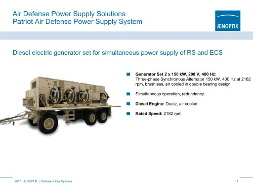 Power supply solutions and power generation systems for air defense