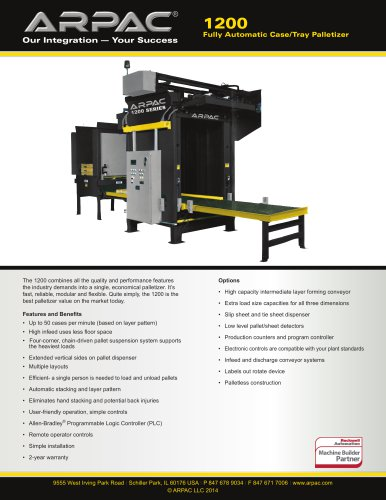 1200 Fully Automatic Case/Tray Palletizer
