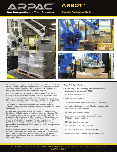 Arbot Robotic Palletizing Cells