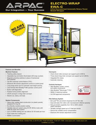 Electro-Wrap Inline Conveyorized Automatic Rotary Tower Stretch Wrapper