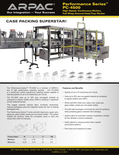 PC-4500 High Speed, Continuous Motion, Full Wrap-Around Case/Tray Packer