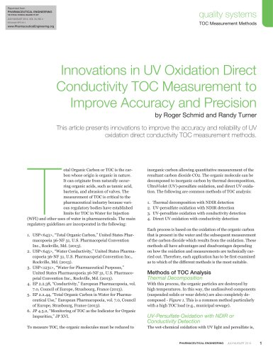 Innovation in UV Oxidation Direct Conductivity TOC Measurement to Improve Accuracy and Precision