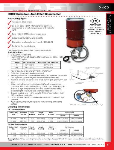 DHCX Hazardous-Area Rated Drum Heater