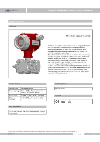 Absolute pressure transmitter (DP type)