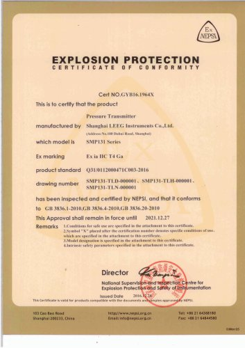 Intrinsic safety certificate for SMP131 compact pressure transducer
