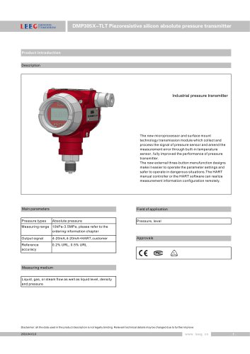 LEEG Absolute pressure transmitter for industry DMP305X-TLT