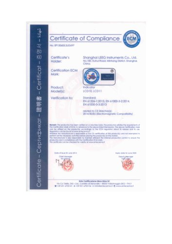 Loop Power LCD Indicator CE Certificate