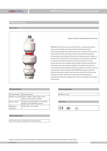 SMP858-TSH-H hygienic level transmitter for food and beverage