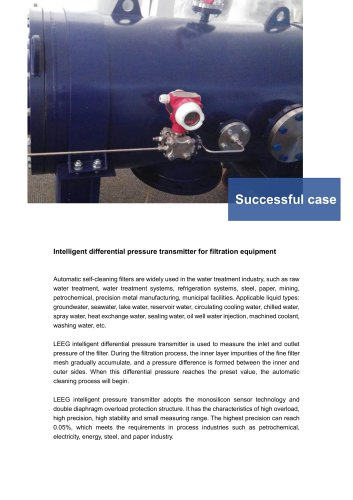 Successful case: LEEG pressure transmitter for filtration equipments