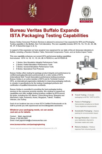 Bureau Veritas Buffalo Expands ISTA Packaging Testing Capabilities