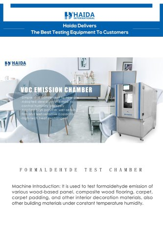 Formaldehyde Laboratory/Climate Humidity And Temperature Laboratory