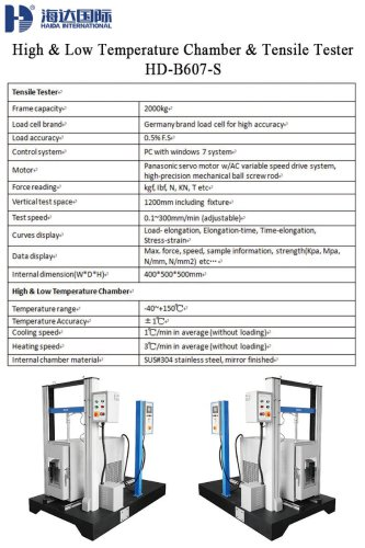 High & Low Temperature Chamber & Tensile Tester