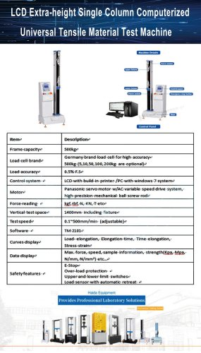 Single Column Computerized Tensile Material Tester