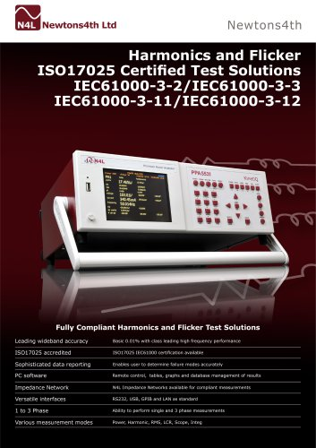 Harmonics and Flicker ISO17025 Certified Test Solutions IEC61000-3-2/IEC61000-3-3 IEC61000-3-11/IEC61000-3-12