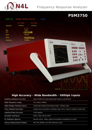 PSM3750 Frequency Response Analyzer: 10µHz?50MHz ? High Performance