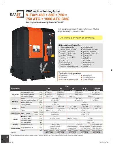 V-Turn 450 • 550 • 750 • 750 ATC • 1000 ATC CNC
