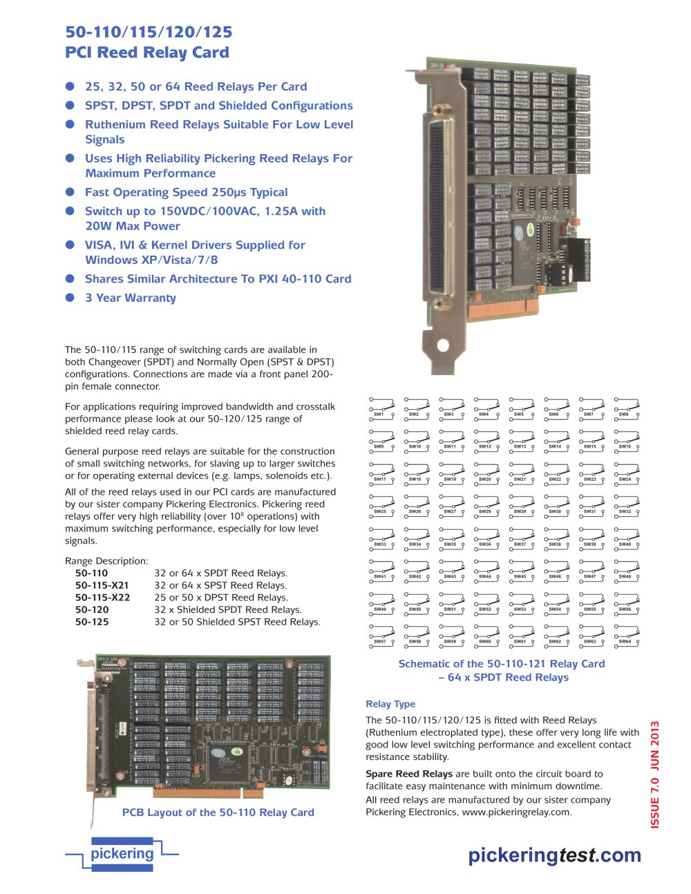 Pci Matrix Card 50 510 511 512 513 Pickering Test Pdf Catalogue Spst Reed Relay Wiring Diagram 1 2 Pages