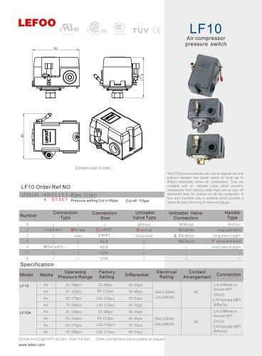 LEFOO PRESSURE SWITCH/LF10/Air compressor/ tank pressure/4 ... on