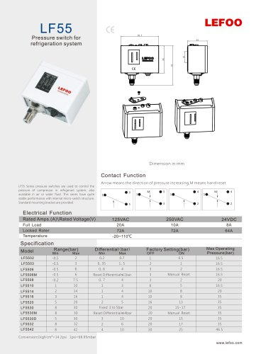 Lefoo Pressure Switch Lf55 Automatic Pressure Control Manual Reset Pressure Switch For Havc Electronic Water Pressure Control Switch Water Pump Pressure Switch Zhejiang Lefoo Controls Co Ltd Pdf Catalogs Technical Documentation Brochure
