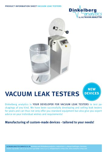 Vacuum Leak Testers by Dinkelberg analytics