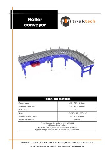 Rollers conveyors for boxes